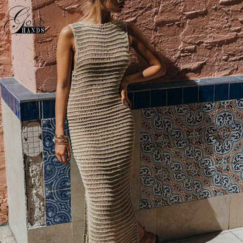 Women Knitted Sweater Dress Women Sexy Vest Casual O-Neck Vest Maxi Dresses Hollow Out Khaki Long Straight Solid Color Vestidos