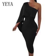 YEYA Summer and Autumn High-end Straight Tribute Sexy Strapless Dress Beauty Banquet Women Off Shoulder Black