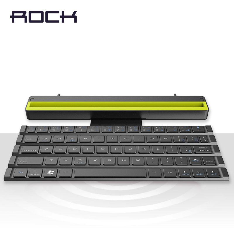 $39.99 ROCK Foldable Bluetooth Keyboard for iPad Pro Mini Air,Multi-Function Rollable Bluetooth Keyboard for iPhone Quick to Switch