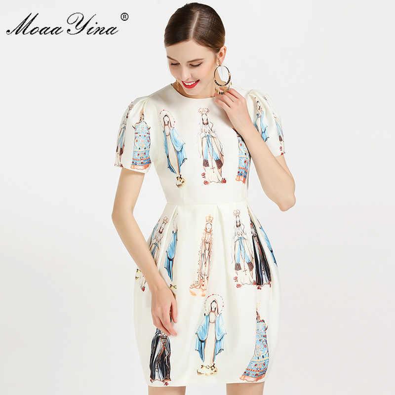 MoaaYina, модное дизайнерское подиумное платье, летнее женское платье с пышными рукавами и принтом Мадонны, вечерние платья для отдыха, бальное платье, тонкое винтажное платье