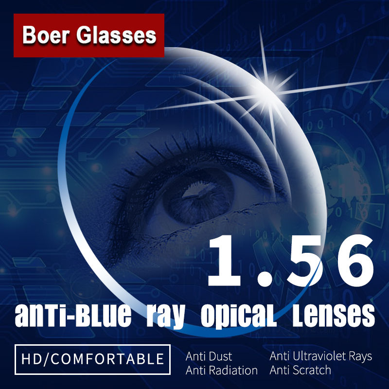 1.56 Anti-Blue Ray Single Vision Asferische Optische Lenzen Recept Bril Eyewear Vision Graden Lens voor Brillen Frame
