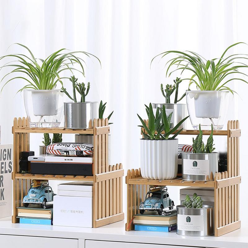 Wooden Plant Shelves Flower Garden Rack Display Stand Bamboo Storage Holder