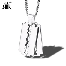 0ae47519484e RIR hoja de afeitar colgante collar 1 piezas o 2 piezas de plata de acero  inoxidable