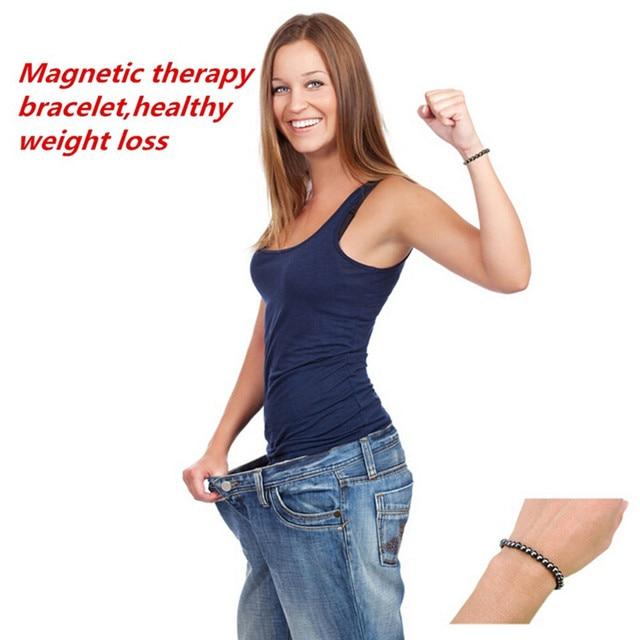 ホットユニセックス1ピース重量損失ラウンドブラックストーン磁気治療ブレスレットヘルスケア高級痩身製品
