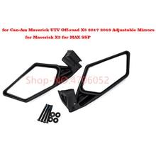 2Pcs Racing Side Mirrors Set for Can-Am Maverick UTV Off-road X3 2017 2018 Adjustable MAX SSP