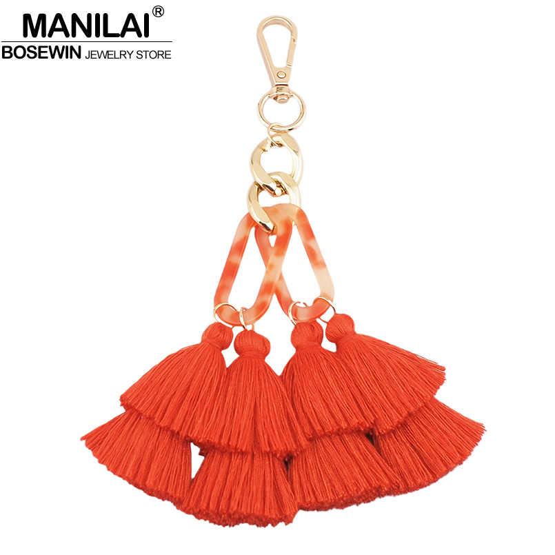 MANILAI Algodão Boêmio Borla Acessórios Multicolor Handmade Chaveiro Chaveiro Saco Pendente do Encanto Das Mulheres