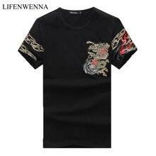 2020 夏のファッションプリント男性の tシャツ o ネック半袖 tシャツ男性中国スタイルカジュアルスリムメンズ綿 tシャツ 4XL 5XL