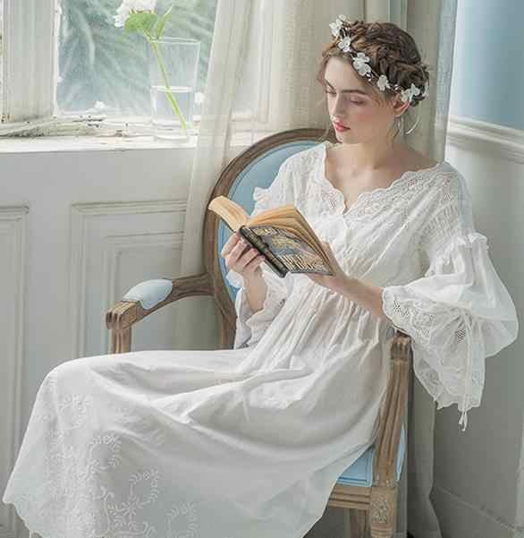 ... Vintage Gown Women Dress Cotton Sleepwear Nightgown Casual Sleepwear  Women Night wear European Retro Style Dress 65e7774b2