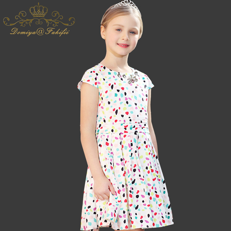 Vestidos Girls Summer Dress 2018 Brand Polka Dot Print Princess Dress Children Costume for Kid Clothes Flamingo Baby Dress 2-14T polka dot slit hem contrast dress