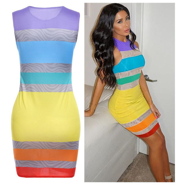 Women s sexy rainbow dress ladies round neck pencil dress summer sleeveless bodycon  dresses plus size dc4a45dde