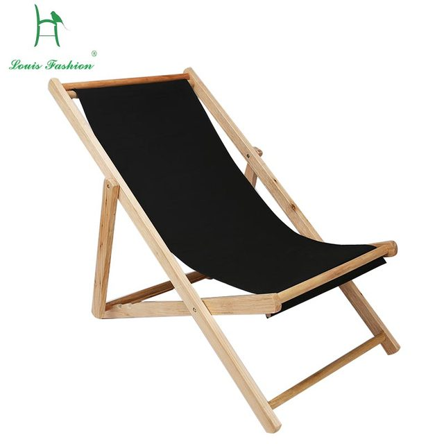 Louis Fashion Beach Chair Fold Wooden Deck Chair Oxford Canvas Seat Chair  Outdoor Portable Midday Rest Wooden Deck Chair