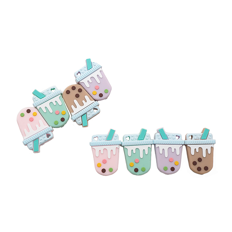 Chenkai 50PCS BPA Free Silicone Milky Tea Teether Beads Baby Nursing Teething Food Grade DIY Infant Chewable Teether Toy Or Gift