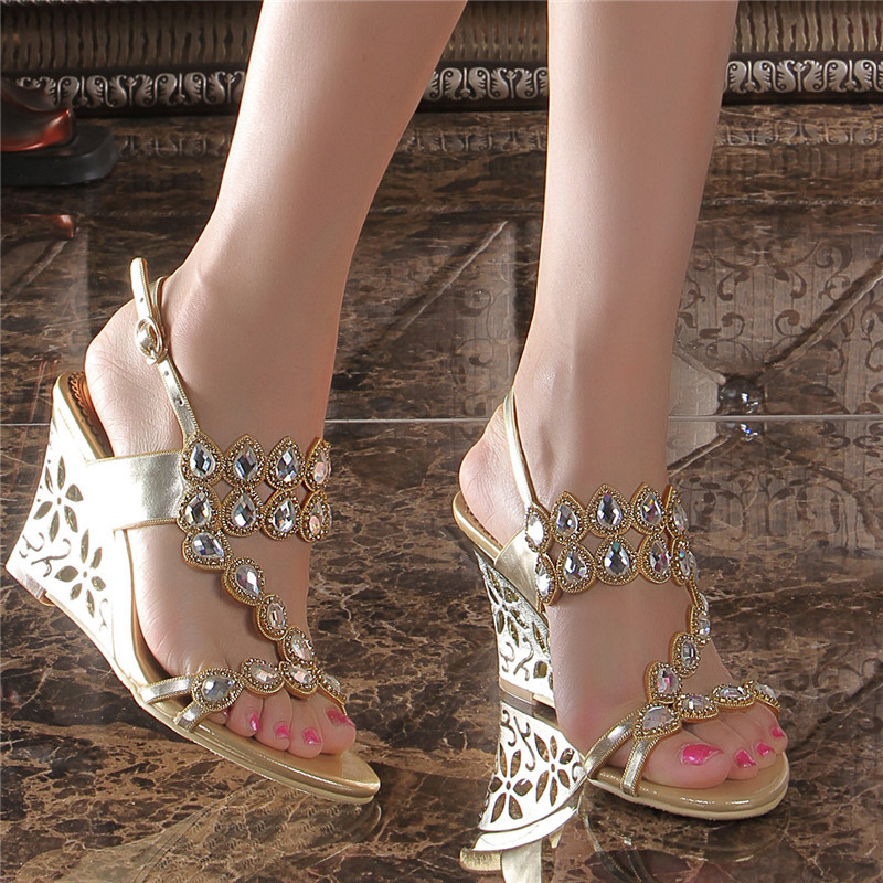 2018 Women's Summer Style New Wedges Sandals Size 11 Gold Diamond Wedding Shoes Crystal High Heels phyanic 2017 gladiator sandals gold silver shoes woman summer platform wedges glitters creepers casual women shoes phy3323