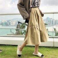 Japan And South Korea Are Retro, Loose, Pure, Colorful, Tall, Waist, Medium, Long, Wrinkle, A, Half Skirt, Women's Autumn Skirt.