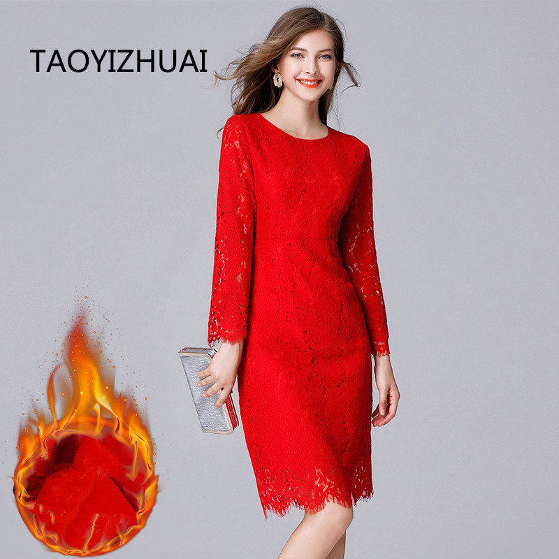 US $26.84 45% OFF|TAOYIZHUAI 2019 Winter Vintage Style Fashion Hollow Out  Cuff Plus Size XL Red Thicken Wool Straight Women Eyelash Dress 14102R-in  ...
