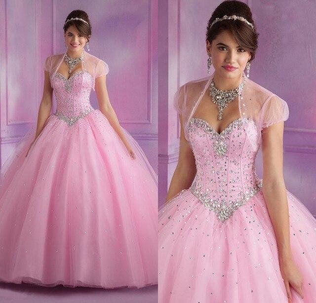 New vestido de Baile Quinceanera Vestidos Rosa Com Vestido de Jaqueta de 15 anos Sweetheart Frisada Corpete Vestidos De 15 Años Doce 16 vestidos
