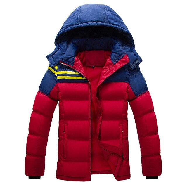 Плюс Размер 4xl 2016 С Капюшоном Красный Черный Синий Большой Размер 3XL размер Белый Вниз Хлопка Теплая Зима Куртка Мужчины Campera Pluma Hombre куртка