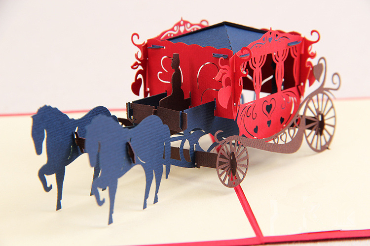 2014 new year laser cut invitations novelty princess carriage 3d pop cards Valentine decoupage love card envelope - Ivy trade company ltd store