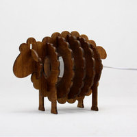 EG cute adorable bleating sheep lamp base DIY handmade wooden reading table lamp for sale