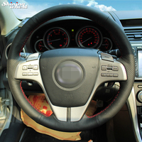 Hand Stitched Black Leather Steering Wheel Cover For Old Mazda 6 2009 Mazda 6