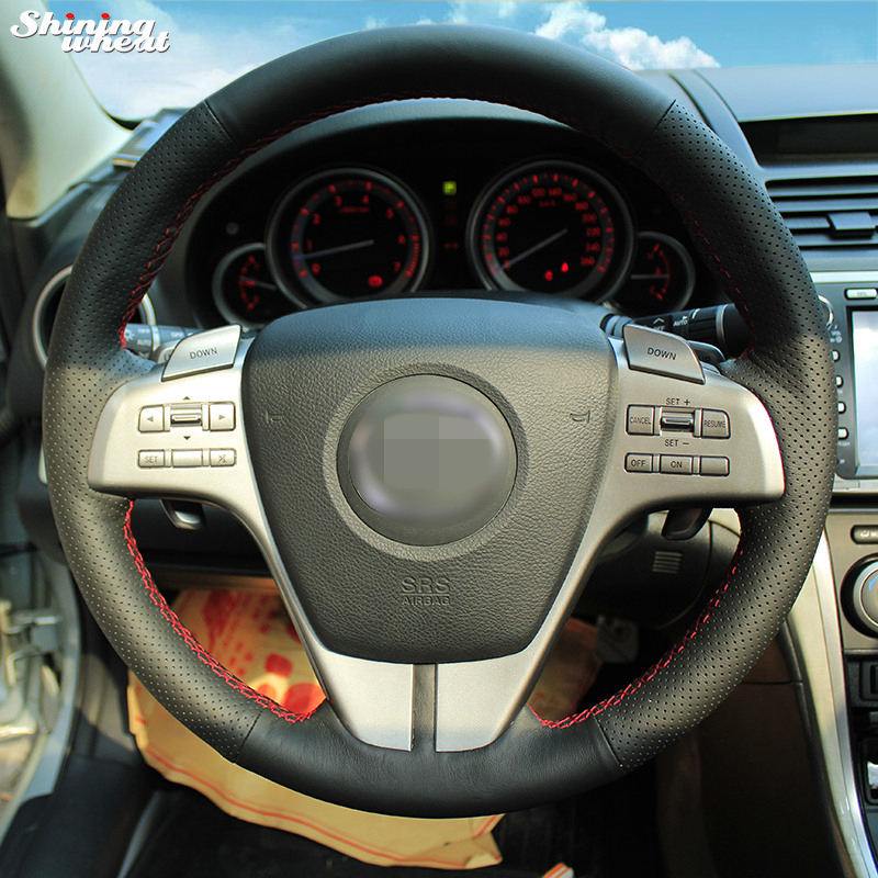 Shining wheat Hand-stitched Black Leather Steering Wheel Cover for Old Mazda 6 2009 Mazda 6 hand stitched black leather steering wheel cover for kia sorento 2009 2014