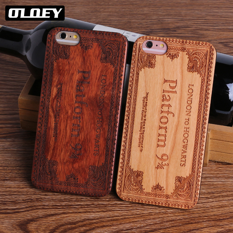 OLOEY Harry Potter Hogwarts Pattern Design Real Wood Phone Cases Cover for Iphone 7 6 6S 8 Plus 5S SE X SAMSSUNG S8 S9 Plus Capa