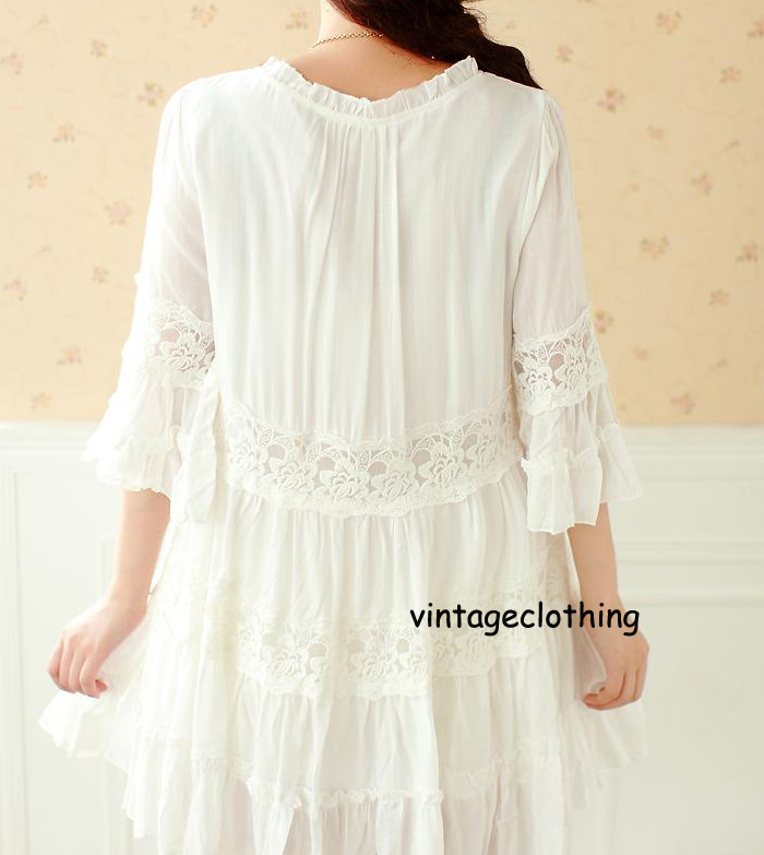 6e62c8d17d4c 2015 New Super Cute Womens Vintage 70s White Cotton Lace Dress Flare Sleeve  blouse Bohemian Top 2 layer Summer Clothing S M L-in Dresses from Women's  ...