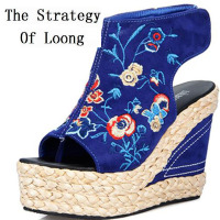 National Style Women Embroidered Peep Toe Shoes High Heels Straw Braid Wedges Sandals Platform Open The