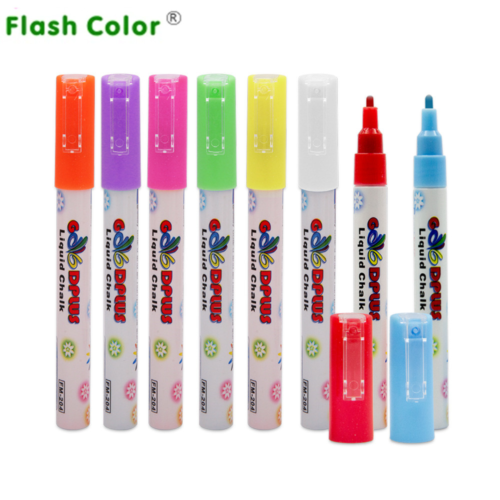 Flashcolor 3mm 8ks / lot Highlighter Fluorescent Liquid Chalk Marker Pen pro LED psací desku