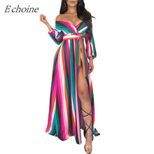 Echoine Colorful Stripe Women Maxi Dress Plus Size S-3XL Wrap V Neck Long Sleeve Off Shoulder High Slity Party Dresses