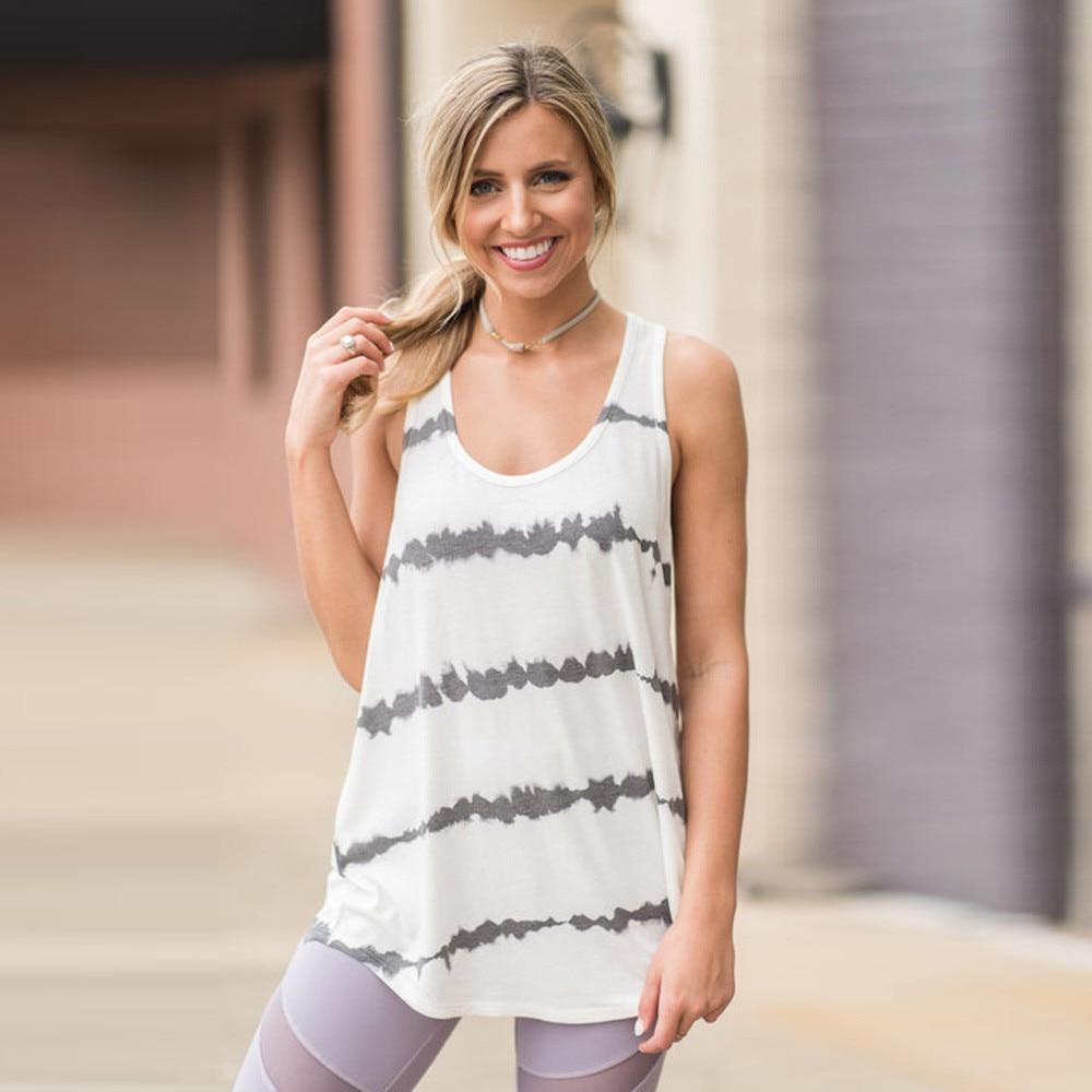 Sexy Women Vest Blouse Tank-Shirt O-Neck Loose-Printed Sports Fashion Casual Sleeveless