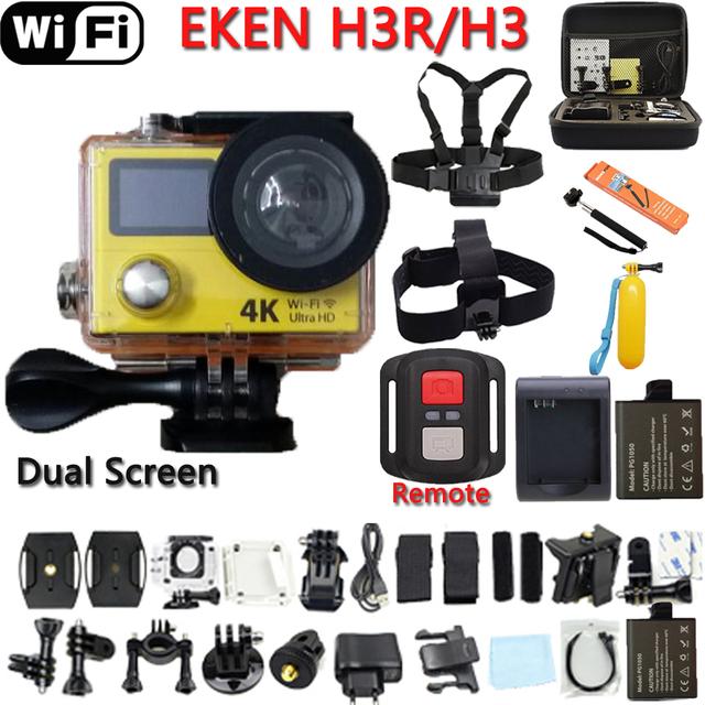 Câmera de Ação de Controle Remoto Original Eken H3R/H3 Ultra 4 K Wi-fi Tela dupla Câmera de Vídeo 170 Graus Lente Cam ir à prova d' água pro câmera