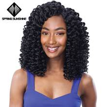 Spring sunshine Kanekalon Funmi Synthetic Hair Weaves 6 Bundles One Pack Black Short Hair Weft Extensions High Temperature Fiber(China)