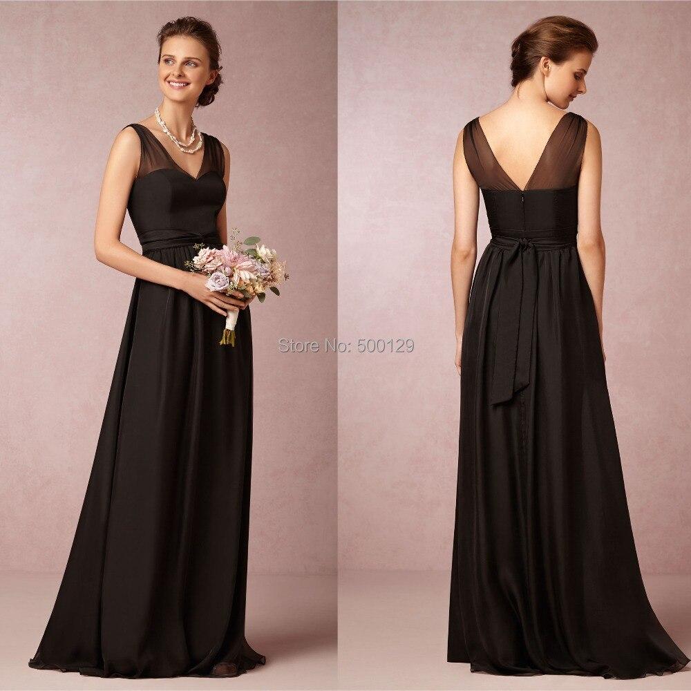 Popular Long Black Chiffon Bridesmaid Dresses-Buy Cheap Long Black ...