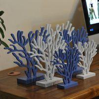 3 ADET/TAKıM Akdeniz Tarzı Ahşap Mercan Ağacı Süsler Beyaz Mavi Tatlı Viburnum Denizcilik Düğün Ev Dekorasyon El Sanatları Hediyeler