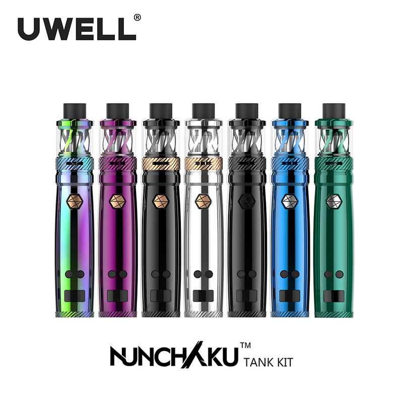 UWELL NUNCHAKU Kit 5-80W 2ml/5ml Tank Atomizer 18650 Battery Or USB Charge Electronic Cigarette Kits (Without battery) 4pcs core gift original uwell nunchaku tank kit vape 5ml atomizer 80w box mod large cloud