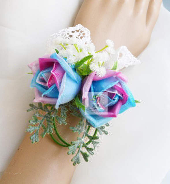 5Pcs Wedding Mother Bride Bridesmaid Hand Wrist Flower Women Corsage ...