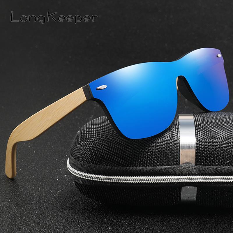 Longkeeper madeira bambu óculos de sol de grandes dimensões marca de luxo designer sem aro espelhado quadrado óculos de sol para mulher/homem