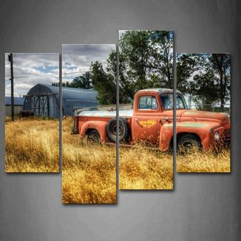 Car In Red Trees And Dry Grasses In Field Wall Art Painting Pictures Print On Canvas Car picutre For Home DecorDrop shipping
