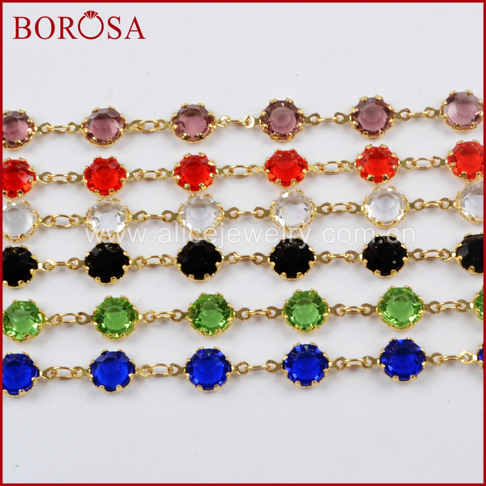 BOROSA 5Meters New 6mm Gold Color Claw Glass Crystal Beads Faceted Coin Beads Chain Glass Beads Chains Jewelry Necklace JT235