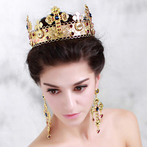 Wedding Hairstyles With Jewels: Baroque Exaggerated Colored Gem Big Crown Headband Royal