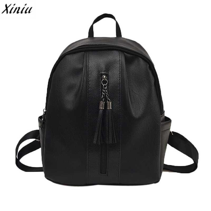 Women's Backpack Travel Zipper Tassel Women Pu Leather Backpack Rucksack Teenage Backpacks For Girls School Bags Mochilas