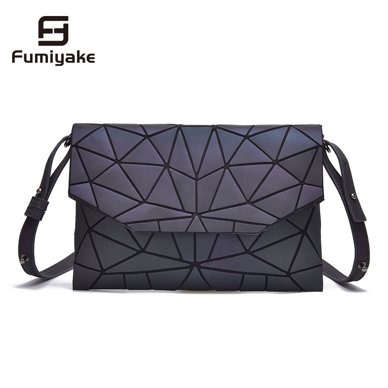 2019 Fashion Geometric Casual Clutch Messenger Bags Luminous Designer Women Evening Bag Shoulder Bags Girls Flap Handbag-in Shoulder Bags from Luggage & Bags