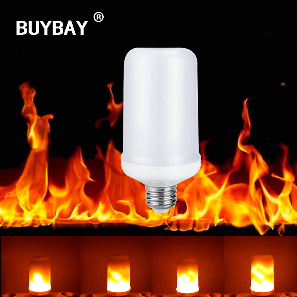 BUYBAY E27 E26 2835 LED Flame Effect Fire Light Bulbs 7W Creative Lights Flickering Emulation Vintage Atmosphere Decorative Lamp
