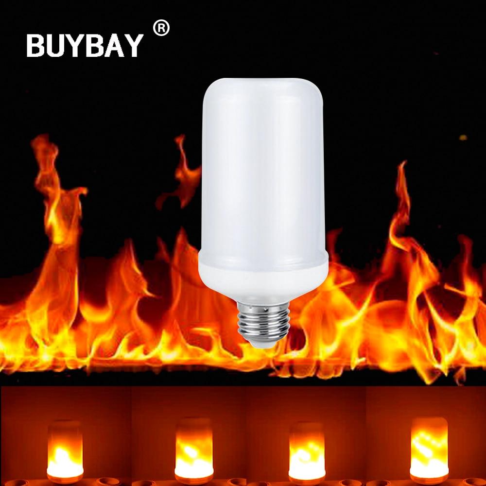 Buybay E27 E26 2835 LED efecto de la llama fuego Bombillas 7 W creativo luces parpadeantes emulación atmósfera vintage Lámparas de decoración