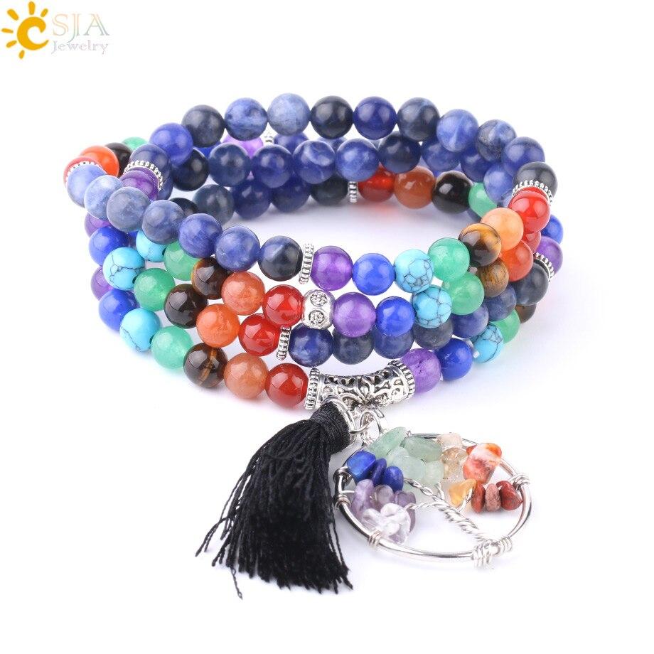 CSJA Natural Stone Sodalite Bracelets 6mm 108 Mala Bead Yoga Reiki 7 Chakra Multilayer Bracelet for Women Men Unisex Bangle F720