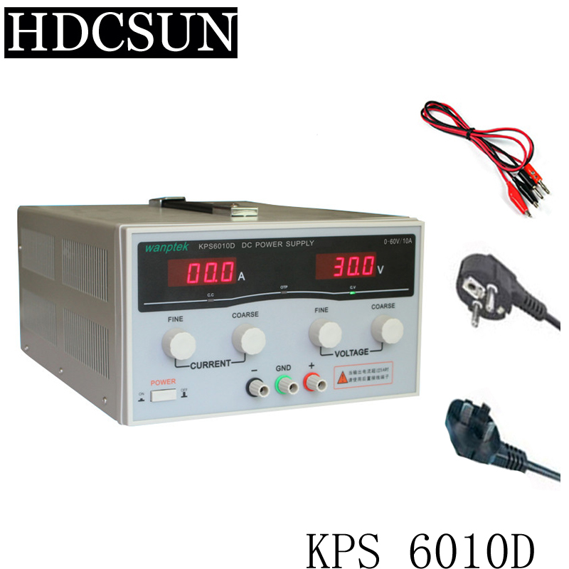 KPS6010D High precision High Power Adjustable LED Dual Display Switching DC power supply 220V EU 60V/10A kps6010d high precision high power adjustable led dual display switching dc power supply 220v eu 60v 10a