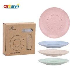 OSSAYI 4 sztuk Eco pszenica słoma płyta danie ustawia stałe naturalne  zdrowe  biodegradowalna zastawa stołowa naczynia stołowe okrągłe naczynia zestawy w Naczynia i talerze od Dom i ogród na
