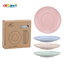 OSSAYI 4Pcs Eco Wheat Straw Plate Dish Sets Solid Natural Healthy Biodegradable Tableware Dinnerware Round Dishes Kits