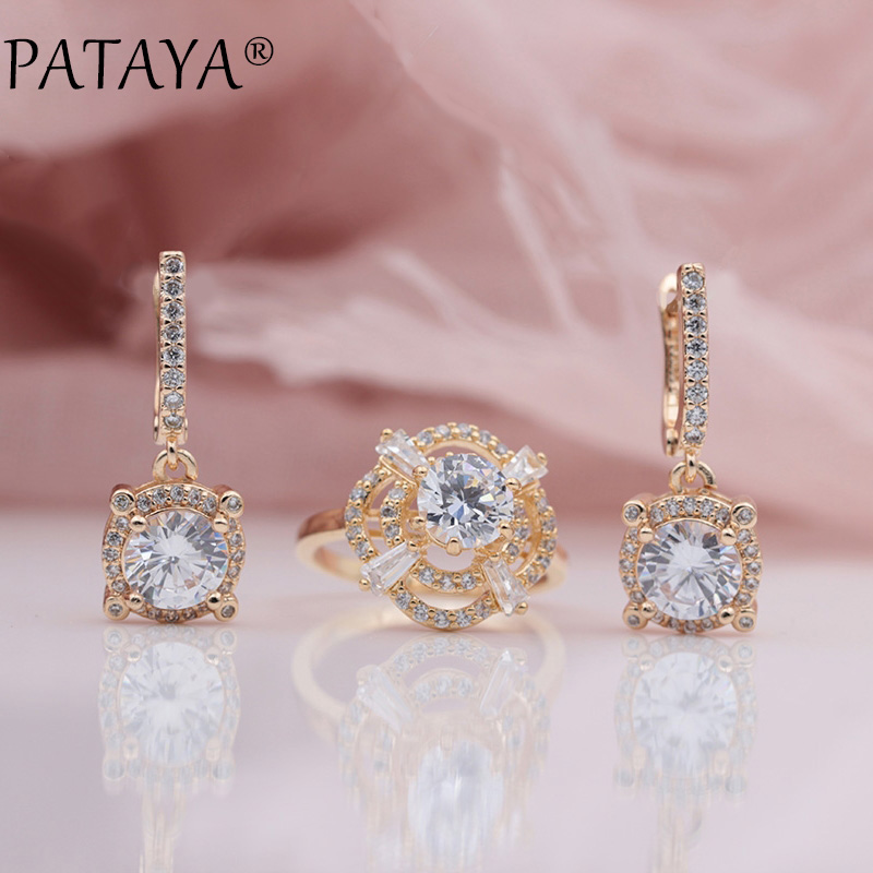 PATAYA New 585 Rose Gold Micro Wax Inlay Natural Zircon Long Dangle Earrings Ring Sets Women Wedding Party Flower Luxury Jewelry все цены